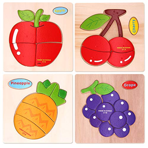 Sealive Fruits Chunky Puzzles Peg Puzzle, 4 Pcs Wooden Jigsaw Puzzles for Toddlers, Shape and Color Matching Games Educational Toys for Kids Boys Girls