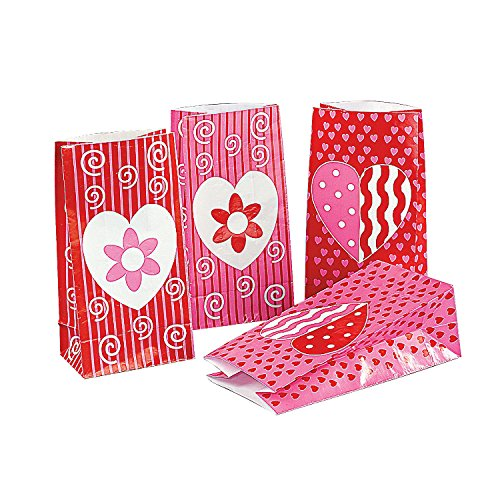 (Fun Express - Valentine Paper Bags for Valentine's Day - Party Supplies - Bags - Paper Treat Bags - Valentine's Day - 12 Pieces)