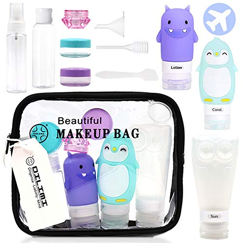 (12Pcs Travel Bottle Set with Clear Toiletry Bag,Silicone Cute Penguin/Monster/Owl Bottle and Plastic Bottles in A Travel Bag For Men Women Travel Accessories)