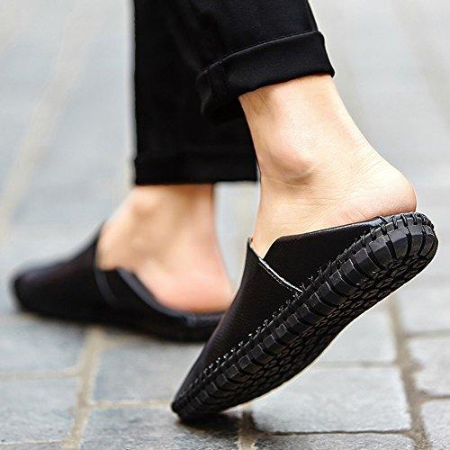 Noblespirit Heren Instapper Leren Casual Slip-schoenen Zwart