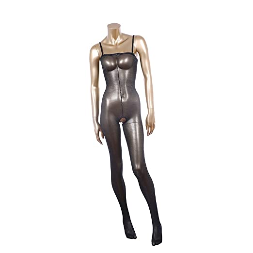 234c8212d Selebritee Womens Body Tights Open Crotch Sheer Bodystockings with Strap  Black