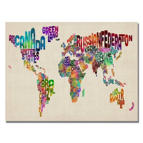 Amazon typography world map ii by michael tompsett 22x32 inch amazon typography world map ii by michael tompsett 22x32 inch canvas wall art framed original artwork posters prints gumiabroncs Gallery