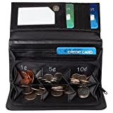 Trenton Gifts Leather Exact Change Wallet | Sorts/Organizes Cash, Coins & Cards | Black