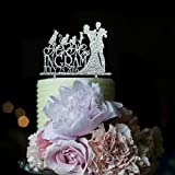 Vintage Wedding Cake Toppers Bride and Groom Personalized Mr and Mrs Name and Date with Cute Dog and Cat for Special Events Cake Decorations