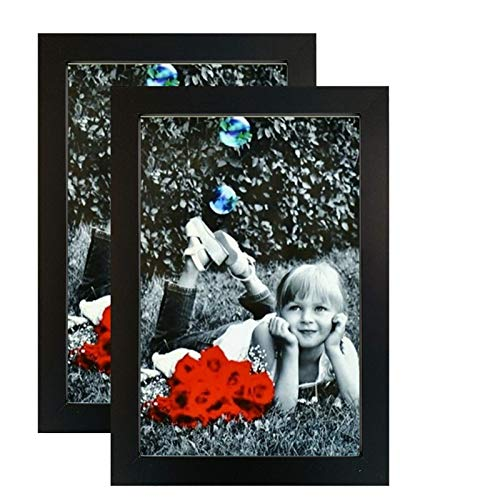 8x12 Black Picture Frames (2-Pack) - HIGH Definition Glass Front Cover - Displays 8