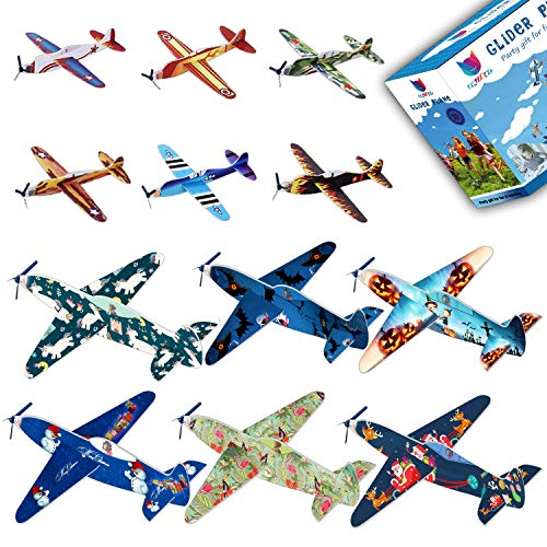 Smailkat Kids Flying Glider Plane - 2018 12 Different Foam Planes, Party Favors Toy Supplies for Christmas Halloween Unicorn and Birthday Party, DIY Intelligence (24 Pack) - 8 Inch