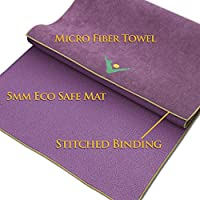 Aurorae Synergy 2 in 1 Yoga Mat; with Integrated Non Slip Microfiber Towel. Best for Hot, Ashtanga, Bikram and Active Yoga Where You Sweat and Slip; Patent Protected