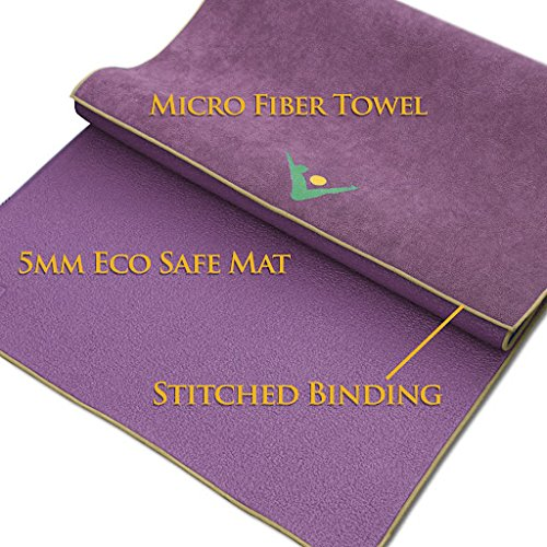 Aurorae Synergy 2 in 1 Yoga Mat; with integrated Non Slip Microfiber Towel
