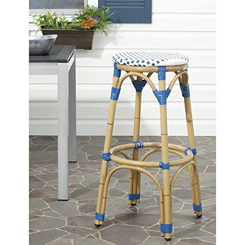 Safavieh Home Collection Kipnuk Blue&White Indoor/ Outdoor Barstool