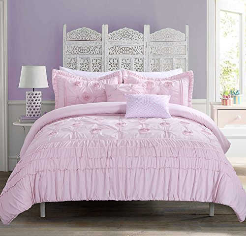 Comforter Set For Teen Kayla Rose Quartz bedding with 3D flour embroidery Beautiful Comforter set for girls (TWIN XL) (Twin Bed Setting For Girls)