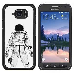 "Be-Star Único Patrón Plástico Duro Fundas Cover Cubre Hard Case Cover Para Samsung Galaxy S6 active / SM-G890 (NOT S6) ( Astronauta Cosmonauta Blanco Negro"" )"