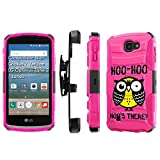 LG [K4] [Optimus Zone3] [LG Spree] [LG Rebel LTE] Armor Case [SlickCandy] [Black/ Hot Pink] Heavy Duty Defender [Holster] [Kick Stand] Phone Case - [Hoo is There Owl]