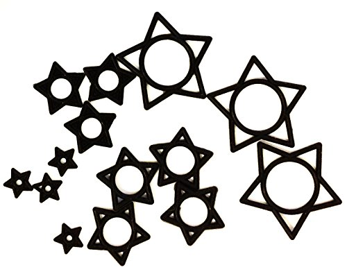 Black Hollow Star Silicone O-Rings (Pack of (O-ring Earring)