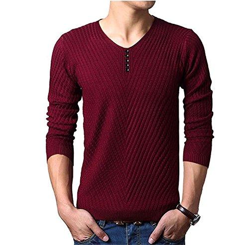 Mistere Winter Men Sweater WarmSolid Color V-Neck Pullover Men Long Sleeve Slim Fit Knitted Men Sweater Pull Homme Red WineXXX-Large