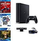 Sony PlayStation 4 Slim 1TB Console Plus PS4 VR: PS VR Headset, PS Camera, Dual Shock 4 Wireless Controller, Game: Spider-Man, Astro Bot Rescue Mission, Moss Game, Choose Your Holiday PS 4 System