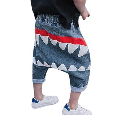 d82a84beab165 Pantalon Bébé Garçon Fille - Sunenjoy Jeans Sarouel Élastique Requin  Imprimé Harem Denim Pantalon Sport Jogging