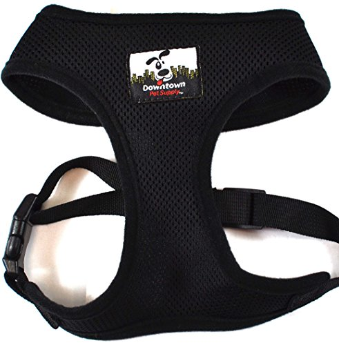 Comfort Control Dog Walking Harness, Padded Vest, Lightweight, No More Pulling, Tugging or Choking, for Puppies and Small Dogs (Black, Large), by Downtown Pet Supply