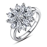 BAMOER 18K White Rose Gold Plated Cubic Zirconia Snowflake Ring for Women Girls CZ Jewelry Fashion Ring 3 Style