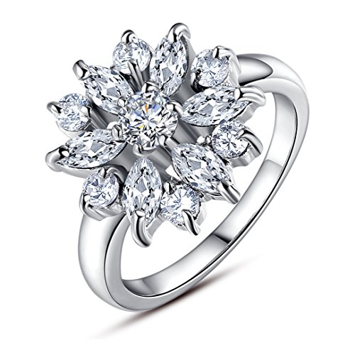 White Gold Snowflake - BAMOER 18K White Rose Gold Plated Cubic Zirconia Snowflake Ring for Women Girls CZ Jewelry Fashion Ring 3 Style White Gold & White CZ Ring Size 9