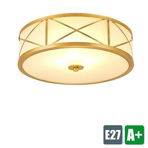 ☆ & Phi; 40 cm Cobre Creativo Moderno Lámpara de techo Tela ...