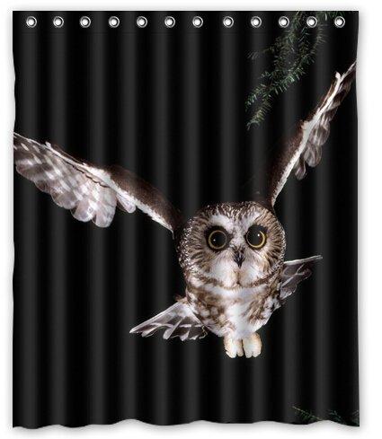 "Birds Owls Animals Fly in the Night Custom Fashion Waterproof Fabric Bath Shower Curtain 60"" x 72"""