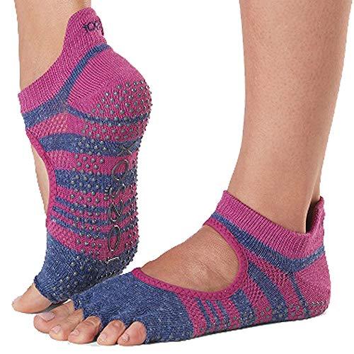 Toesox Grip Pilates Barre Socks-Non-Slip Bellarina Half Toe For Yoga & Ballet Calcetines, Mujer