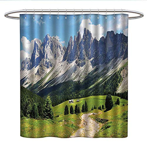 Anshesix Farmhouse Decorlong Shower curtainWinding Path into Pine Tree Forest Meadows and Mountain Scenery PrintShower Curtain liningGreen White Blue ()