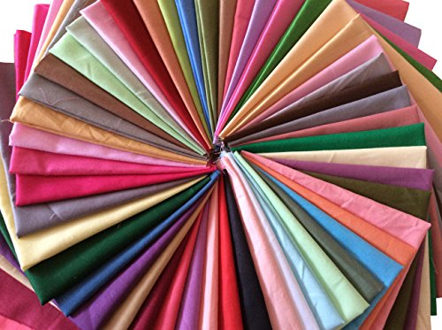 longshine-us 25pcs Solid Colors Premium Cotton Craft Fabric Squares