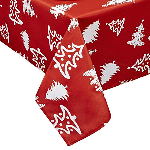 Obstal Rectangle Christmas Table Cloth, Oil-Proof Spill-Proof and Water Resistance Tablecloth, Decorative Fabric Table Cover for Outdoor and Indoor Use (60 x 120 inch, -