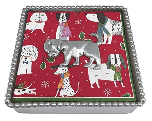 - Mariposa Beaded (string of pearls) Napkin box with Mutt (dog,pupply) Napkin Weight and Cocktail Napkins