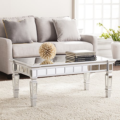 Southern Enterprises Glenview Mirror Cocktail Table - Mirrored Surface w/Silver Matte Trim - Glam Style