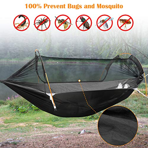 Patent Camping Hammock with Mosquito Net and Rainfly Cover, orange/grey