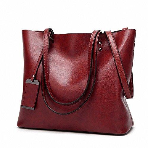 capacità Top borse casuale Vintage spalla a Womens Rosso pelle Soft retrò Tote borse manico grandi HzF0IqPw