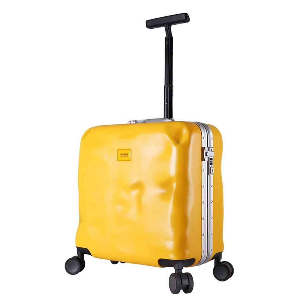 小型トロリーケース、スタイリッシュな個性360度ミュートキャスタートロリーケース(4色、お選びいただけます) B07SFSZM8N Yellow
