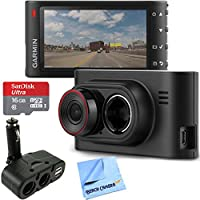 Garmin Dash Cam 35 HD Driving Recorder with GPS + SanDisk microSDHC Ultra 16GB Memory Card with Universal DC 12V/24V Dual USB 4 Port Car Charger and Beach Camera Microfiber Cloth