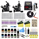 Tattoo Kit for Beginners Tattoo Gun Kit 2pcs Starter Tattoo Machine Kit Complete Tattoo Kit 10 Colors Tattoo Inks TK1000084