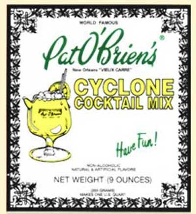 Rum Hurricane Drink - Pat O'Brien's Cyclone Drink Mix