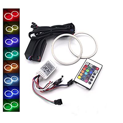 ZXREEK 2x RGB Multi-Color COB LED Angel Eyes Halo Rings For Cars Headlights Marker with IR Reomote Controller