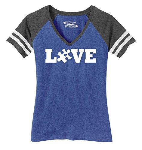 Comical Shirt Ladies Love Autism Awareness Tee Game V-Neck Tee