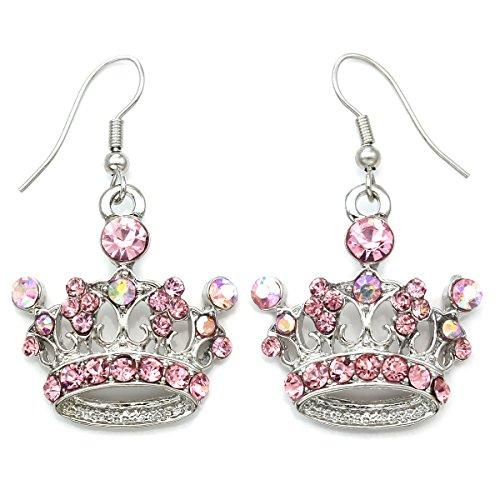Pink Princess Crown Tiara Dangle Drop Earrings Fashion Jewelry (Dangle Pink Star)