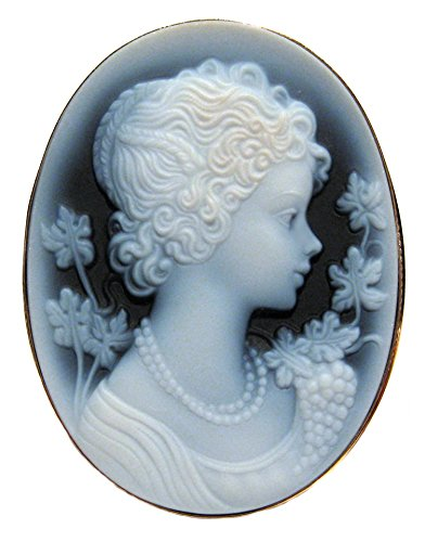 Summer Dream, Cameo Pin Pendant Genuine Agate Stone Laser Carved Italian Sterling Silver 18k Gold Overlay by cameosRus