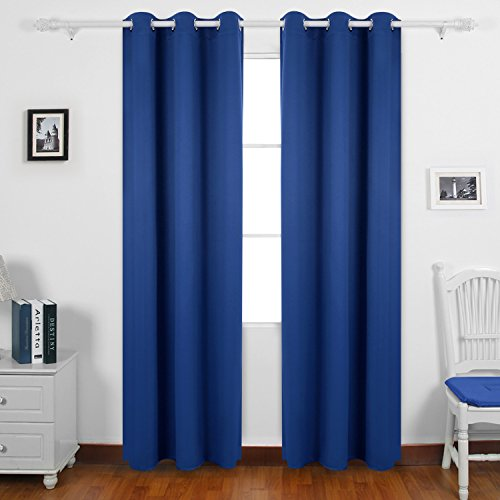 Deconovo Thermal Insulated Room Darkening Blackout Curtains Grommet Curtain Panel for Bedroom 42x63 Inch Royal Blue Set of 2