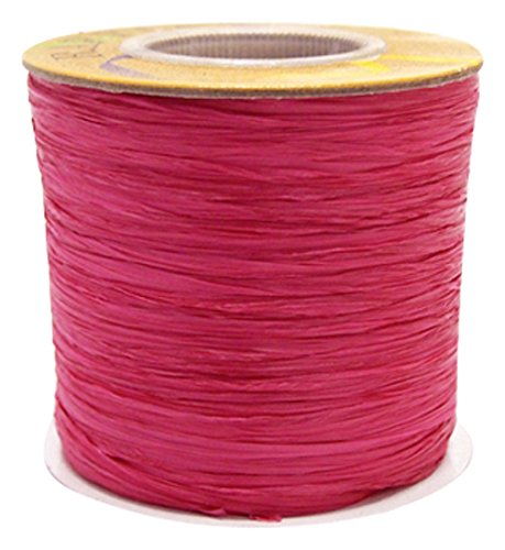 Homeford FHV000057109 Matte Raffia Ribbon, 1/4'', 100 yd, Hot Pink