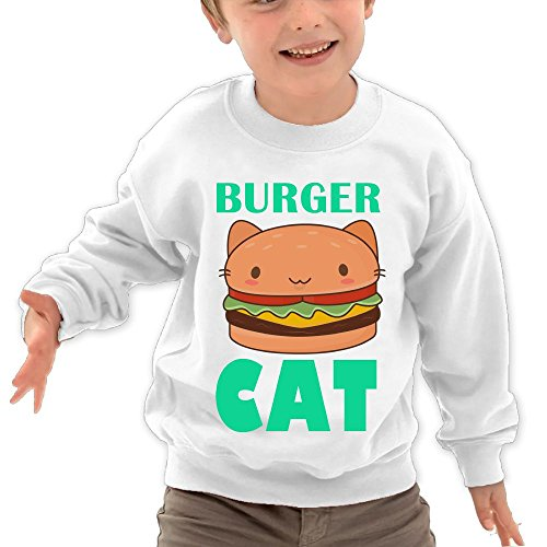Price comparison product image Puppylol Burger Cat Kids Classic Crew-neck Pullover Hoodie White 2 Toddler