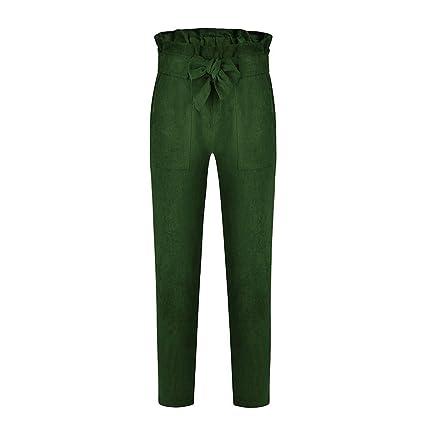 809e0c680f Lorjoy Elástico de Las Mujeres de Cintura Alta de la Correa Noveno  Pantalones sólidos Pantalones de
