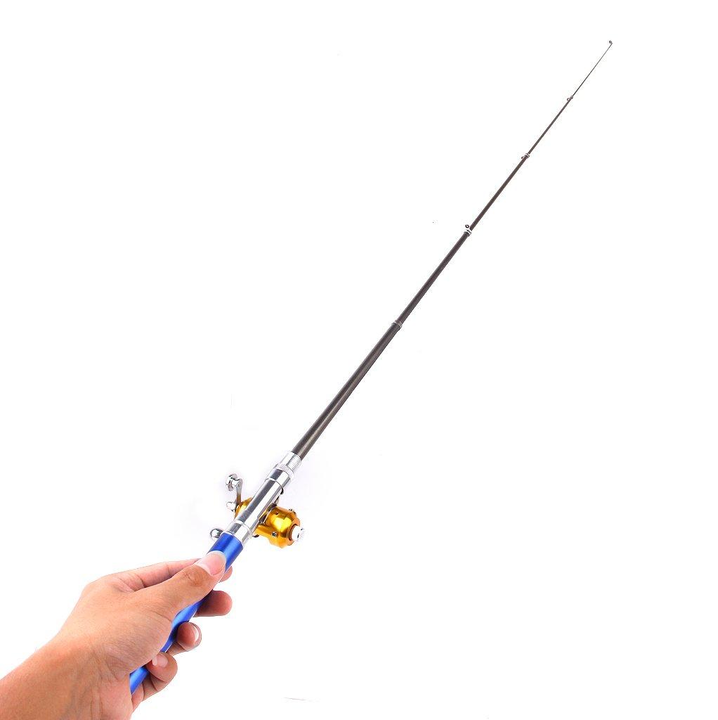 MagiDeal Canne /à P/êche T/él/éscopique Comme Stylo 20cm Moulinet Bobine Fil Lancer