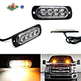 iJDMTOY (2) Amber/White Ultra Slim Extremely Bright High Power CREE 4-LED Strobe Warning Light Flashers For Truck, Jeep, 4x4, ATV, Construction Vehicles, etc
