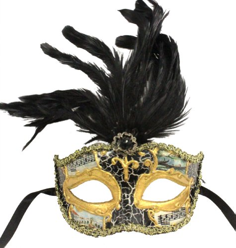 RedSkyTrader Mens Feathered Vintage Finish Mask One Size Fits Most Multicoloured (Feathered Masquerade Mask)