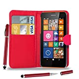 Nokia Lumia 625 - Leather Flip Case Cover Pouch + 2