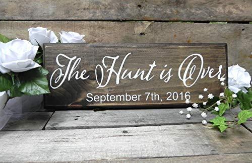 (bawansign The Hunt is Over Sign Better Together Sign Rustic Wooden Wedding Signs Wedding Wood Sign Plaque Decor Established Date Sign Bridal Gift)